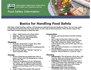 Basics For Safe Food Handling